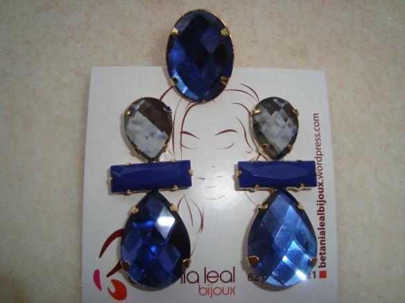 Conjunto brinco e anel azul !